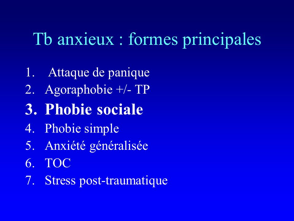 Tb anxieux : formes principales
