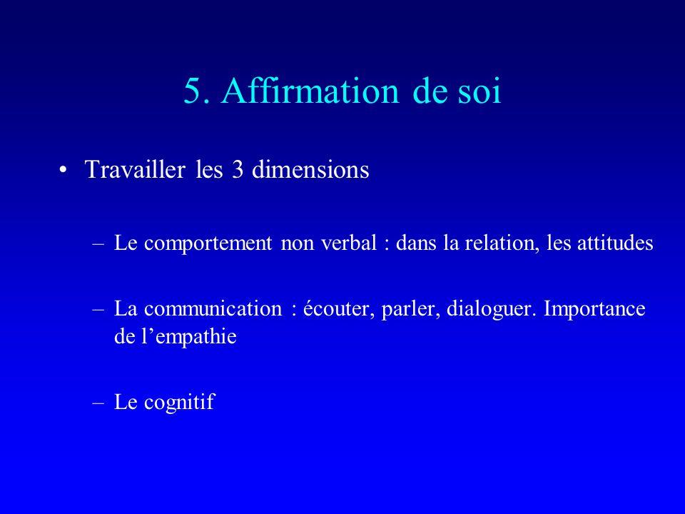 5. Affirmation de soi Travailler les 3 dimensions