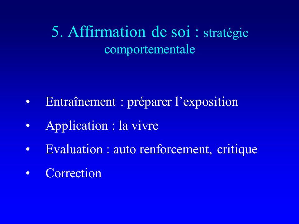 5. Affirmation de soi : stratégie comportementale