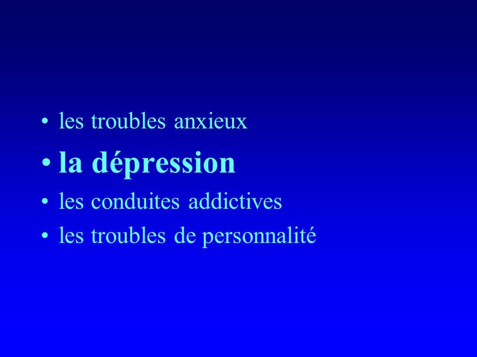 la dépression les troubles anxieux les conduites addictives