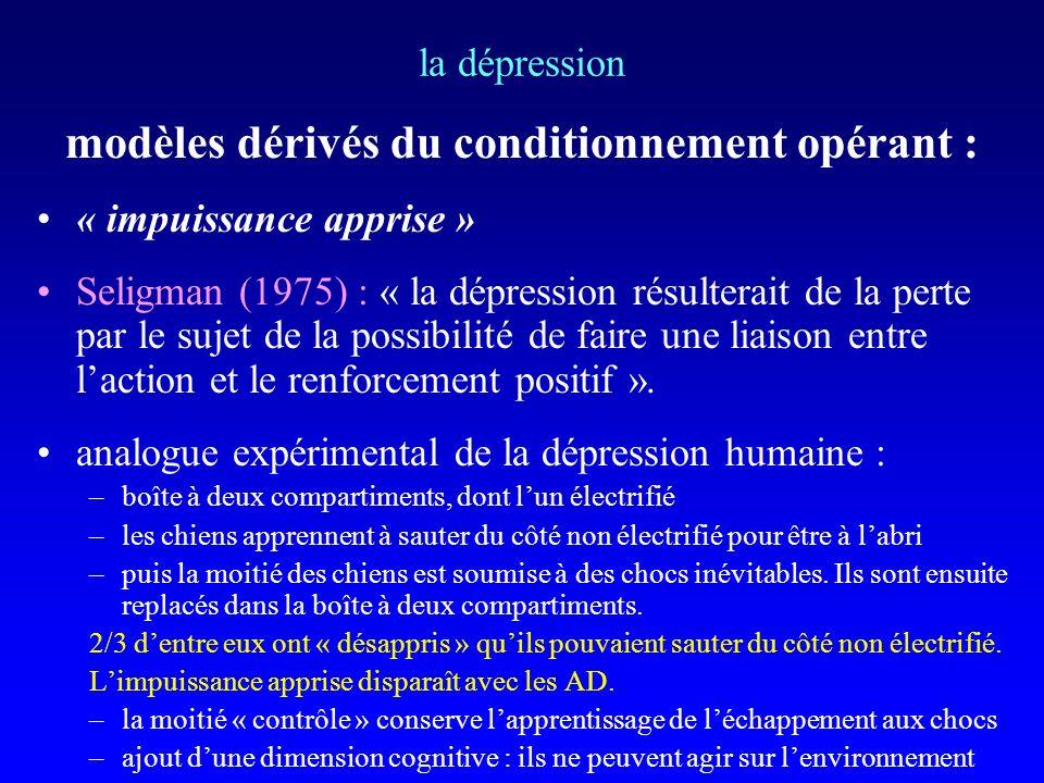 modèles dérivés du conditionnement opérant :