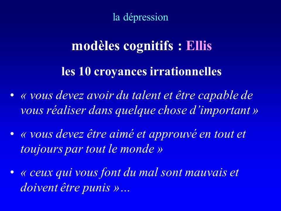 modèles cognitifs : Ellis les 10 croyances irrationnelles