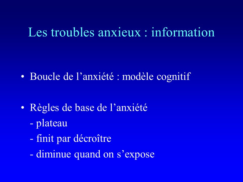Les troubles anxieux : information