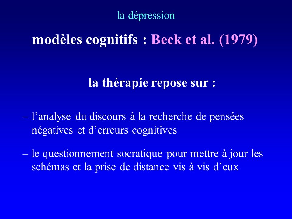 modèles cognitifs : Beck et al. (1979) la thérapie repose sur :