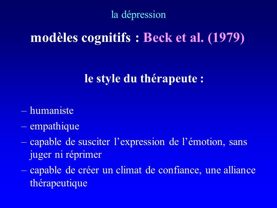 modèles cognitifs : Beck et al. (1979) le style du thérapeute :