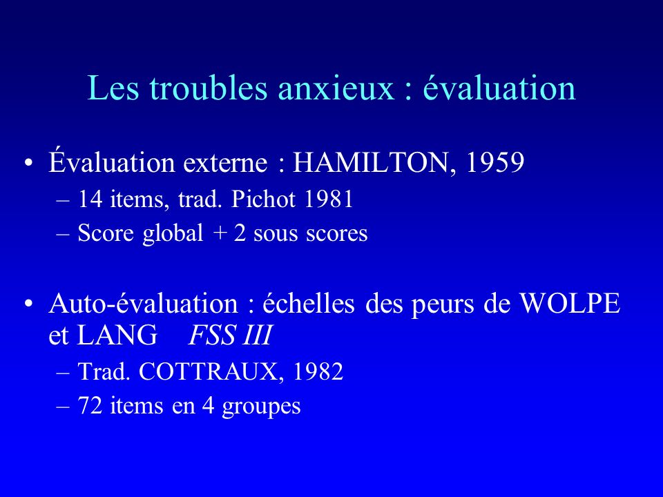 Les troubles anxieux : évaluation