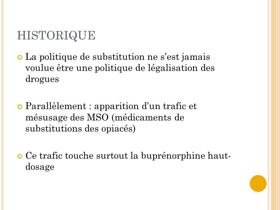 HISTORIQUELa politique de substitution ne s'est jamais voulue être une politique de légalisation des drogues.