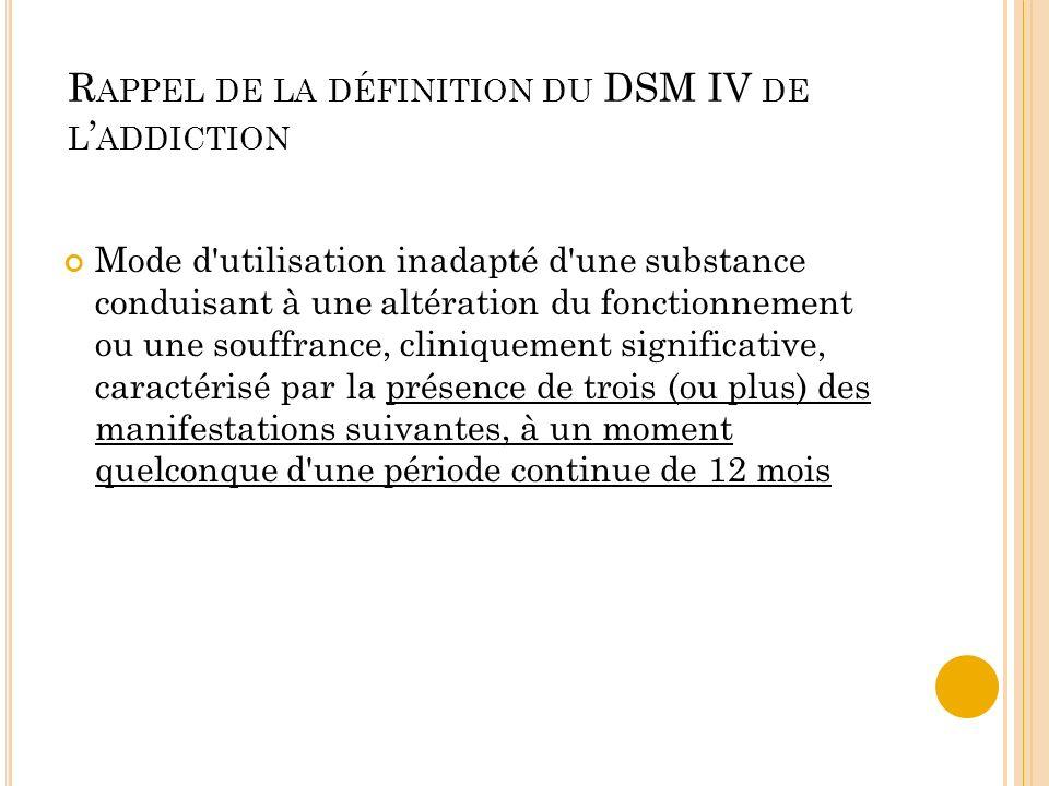 Rappel de la définition du DSM IV de l'addiction