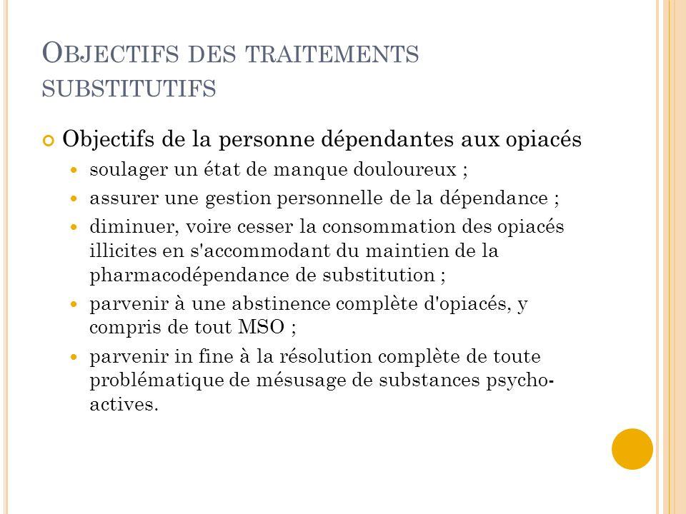 Objectifs des traitements substitutifs