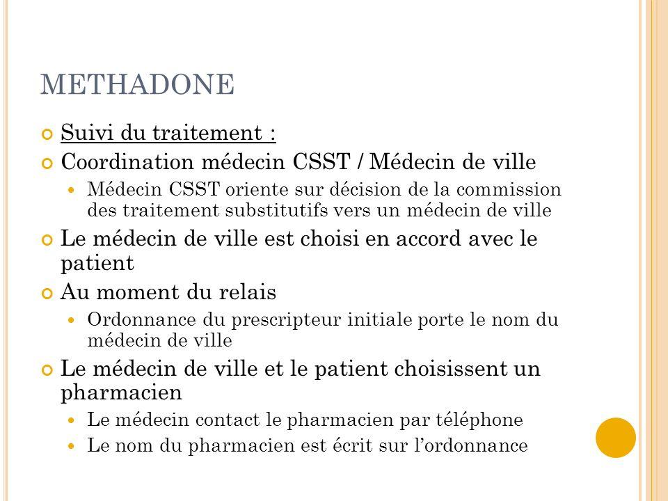 METHADONE Suivi du traitement :