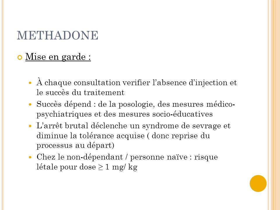 METHADONE Mise en garde :