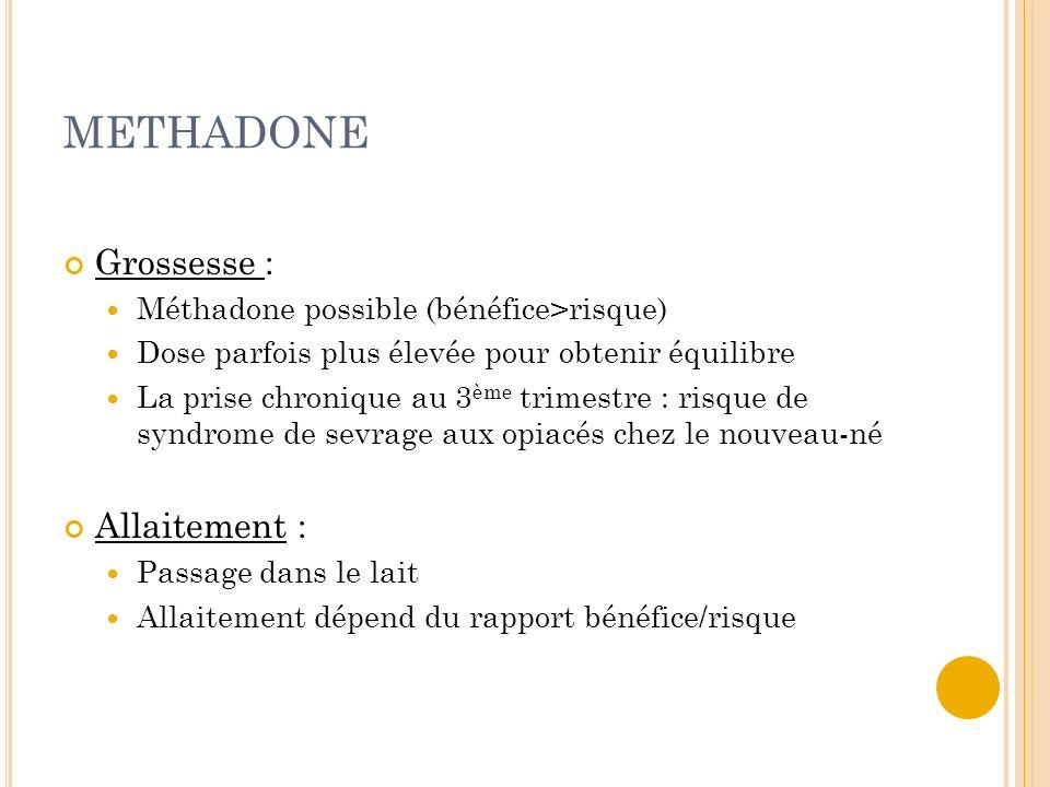METHADONE Grossesse : Allaitement :