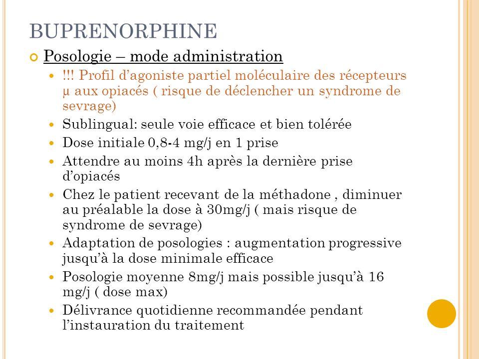 BUPRENORPHINE Posologie – mode administration