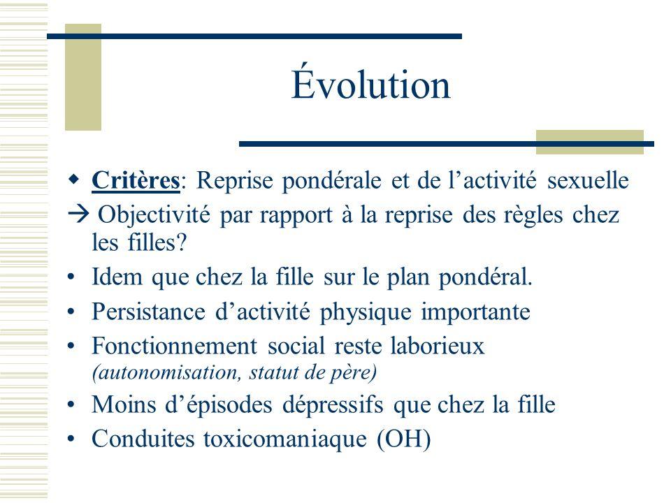 Évolution Critères: Reprise pondérale et de l'activité sexuelle