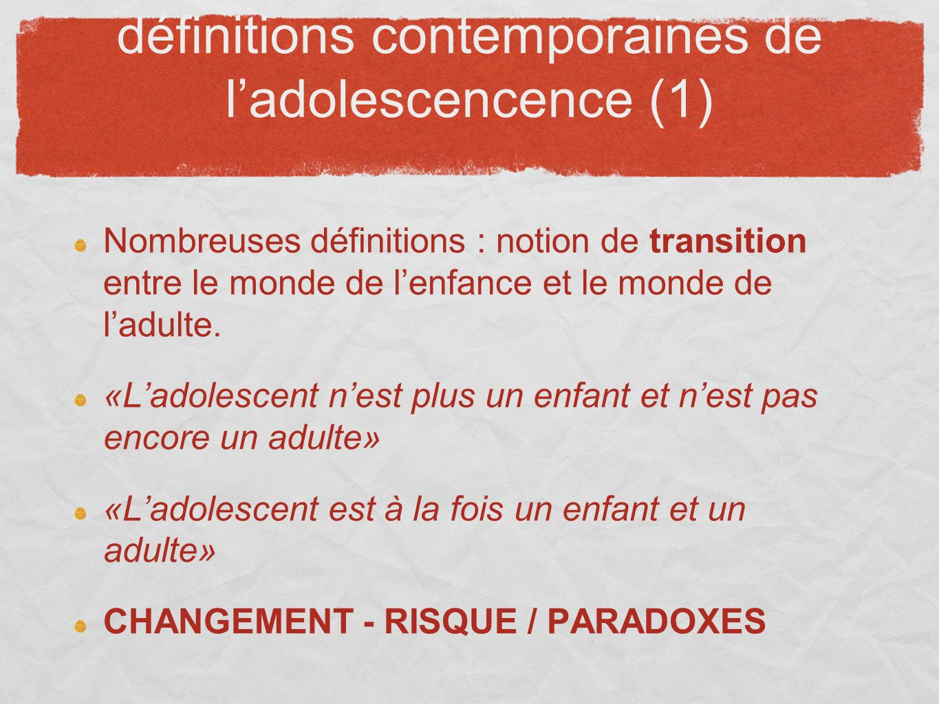 définitions contemporaines de l'adolescencence (1)