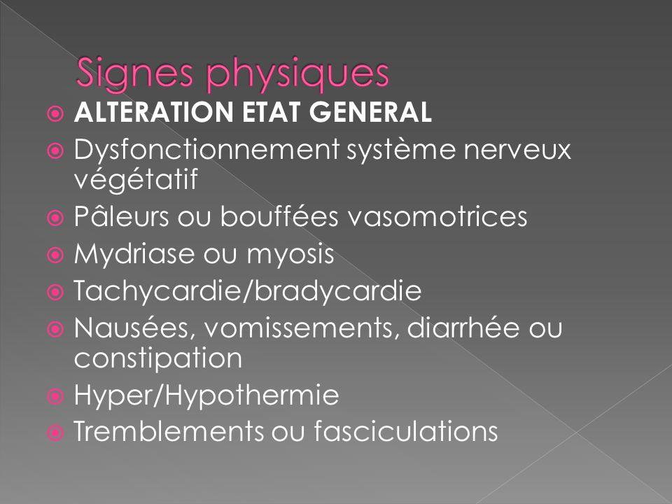 Signes physiques ALTERATION ETAT GENERAL