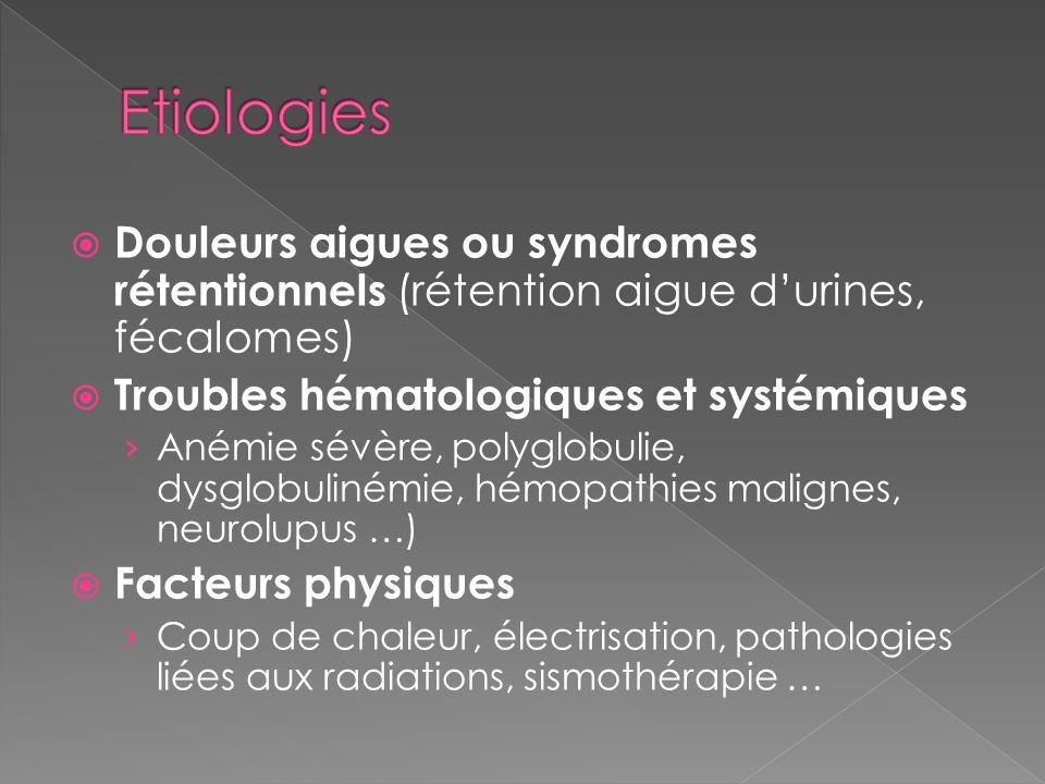 Etiologies Douleurs aigues ou syndromes rétentionnels (rétention aigue d'urines, fécalomes) Troubles hématologiques et systémiques.