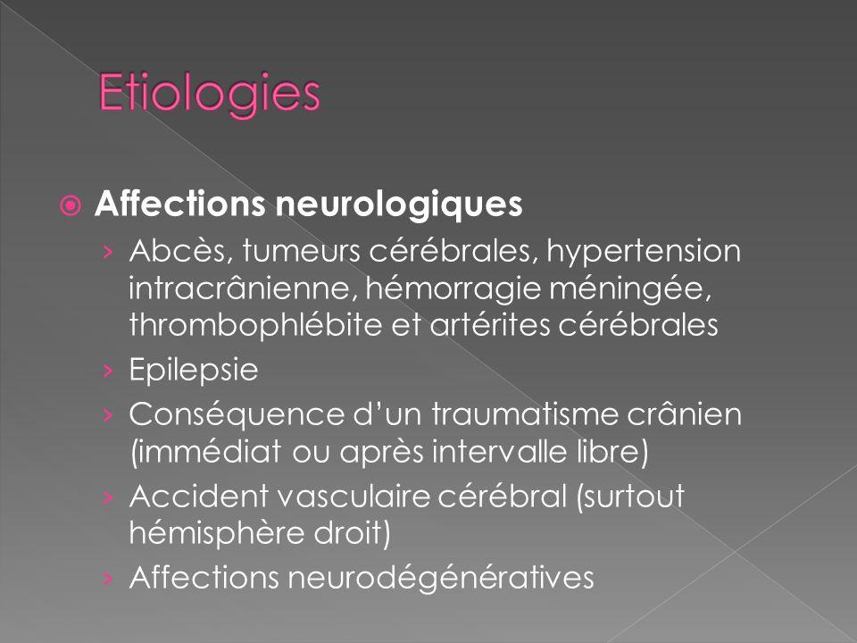 Etiologies Affections neurologiques
