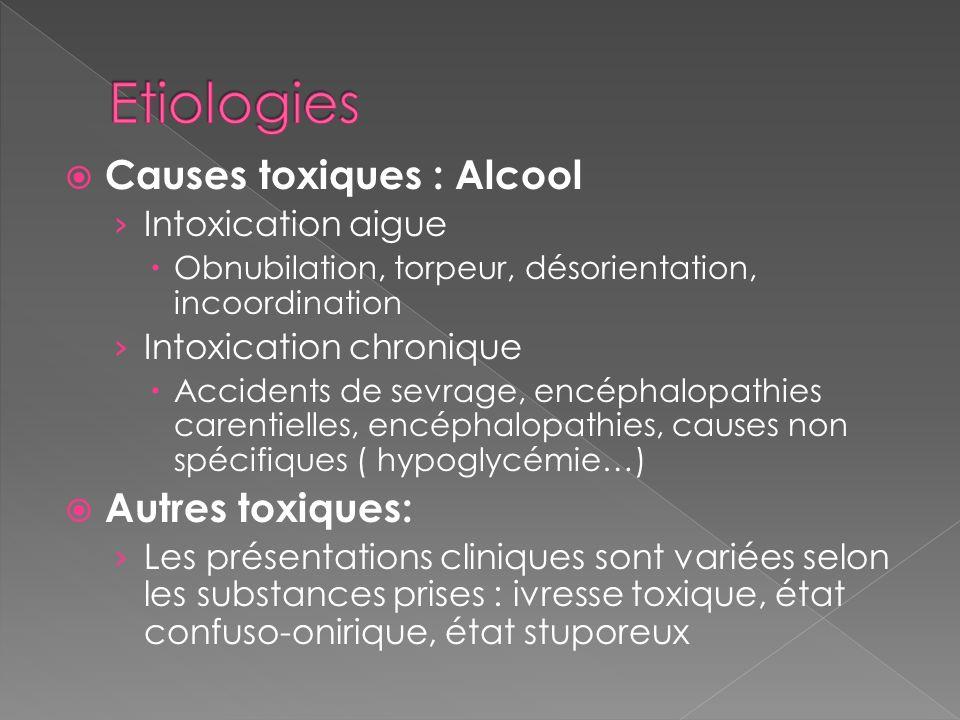 Etiologies Causes toxiques : Alcool Autres toxiques: