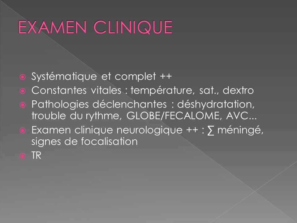 EXAMEN CLINIQUE Systématique et complet ++