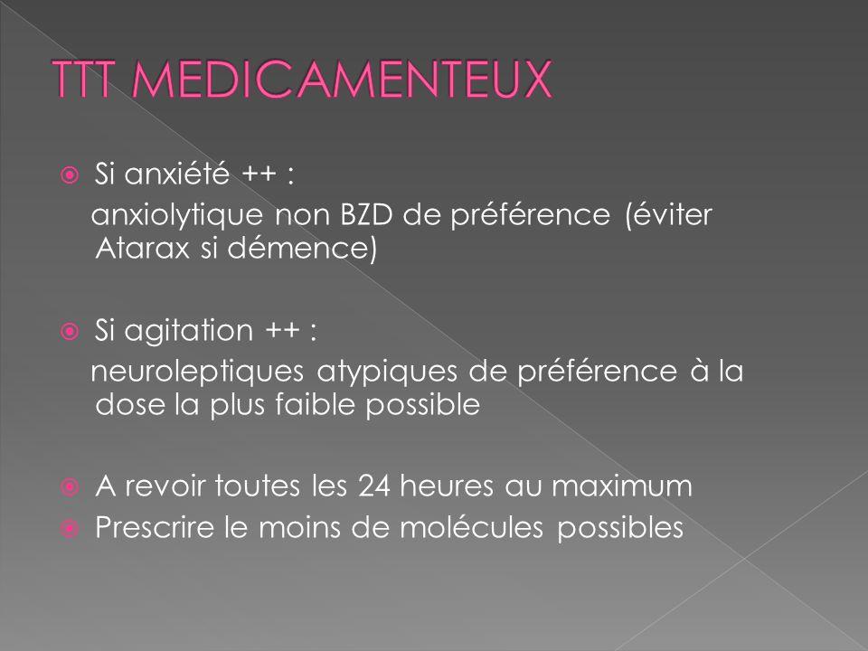 TTT MEDICAMENTEUX Si anxiété ++ :