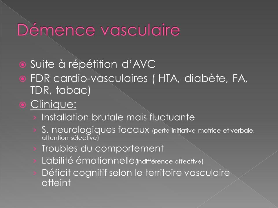 Démence vasculaire Suite à répétition d'AVC