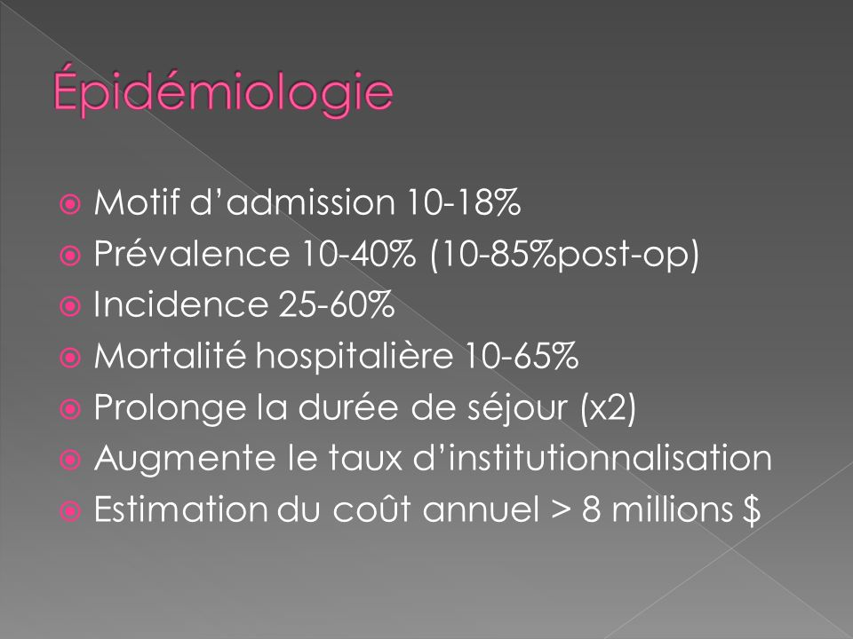 Épidémiologie Motif d'admission 10-18%