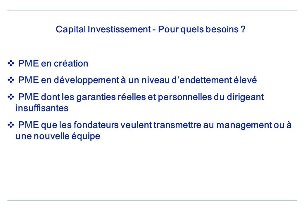 Capital Investissement - Pour quels besoins