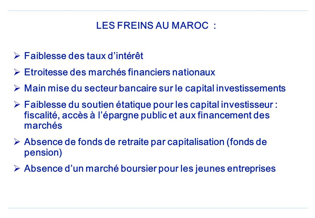 LES FREINS AU MAROC : Faiblesse des taux d'intérêt. Etroitesse des marchés financiers nationaux.