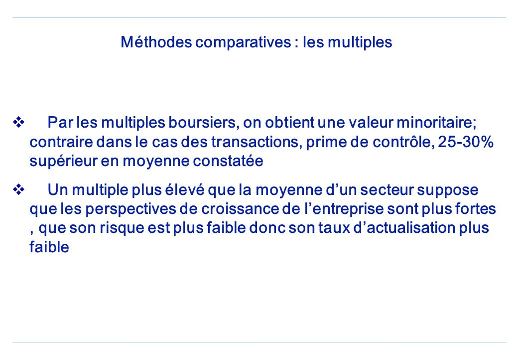 Méthodes comparatives : les multiples