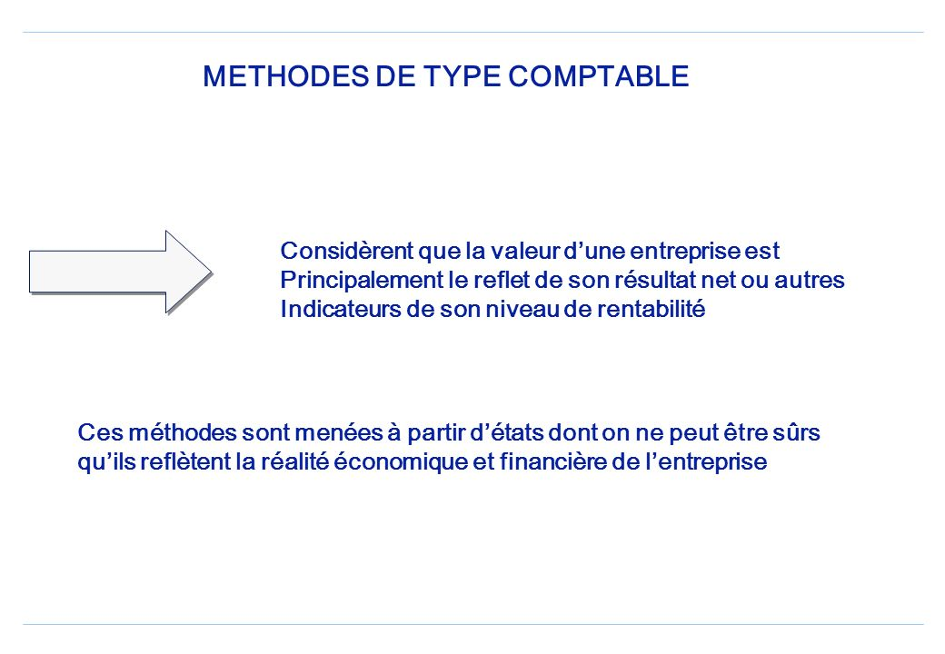 METHODES DE TYPE COMPTABLE