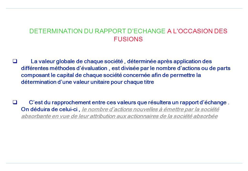 DETERMINATION DU RAPPORT D'ECHANGE A L'OCCASION DES FUSIONS