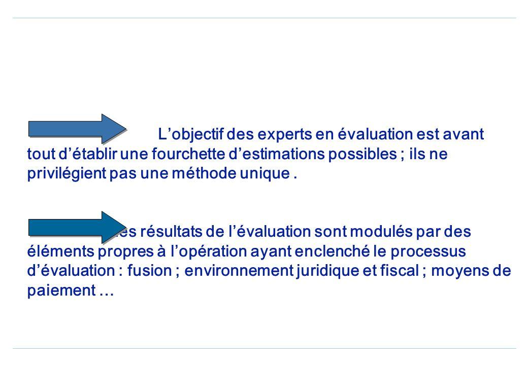 L'objectif des experts en évaluation est avant tout d'établir une fourchette d'estimations possibles ; ils ne privilégient pas une méthode unique . Les résultats de l'évaluation sont modulés par des éléments propres à l'opération ayant enclenché le processus d'évaluation : fusion ; environnement juridique et fiscal ; moyens de paiement …