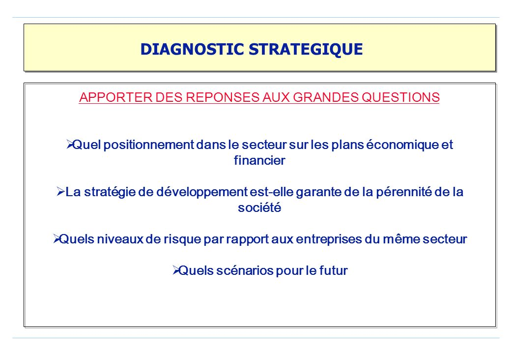 DIAGNOSTIC STRATEGIQUE
