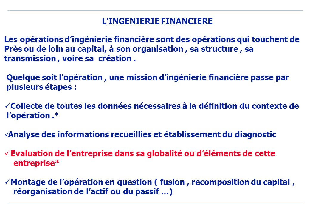 L'INGENIERIE FINANCIERE