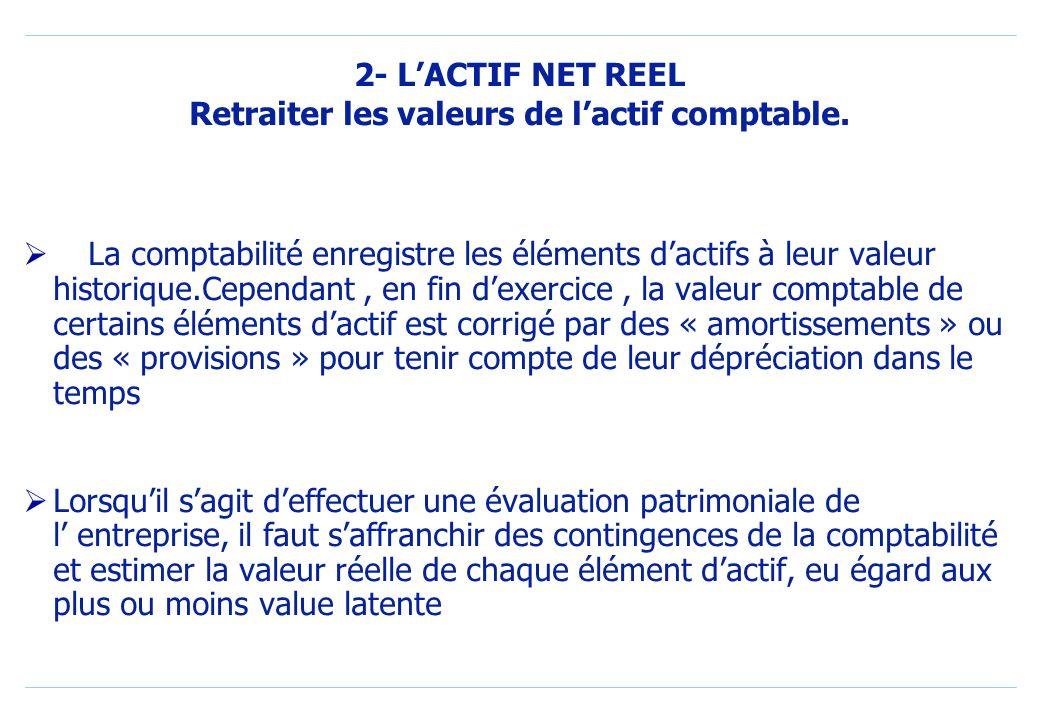 2- L'ACTIF NET REEL Retraiter les valeurs de l'actif comptable.