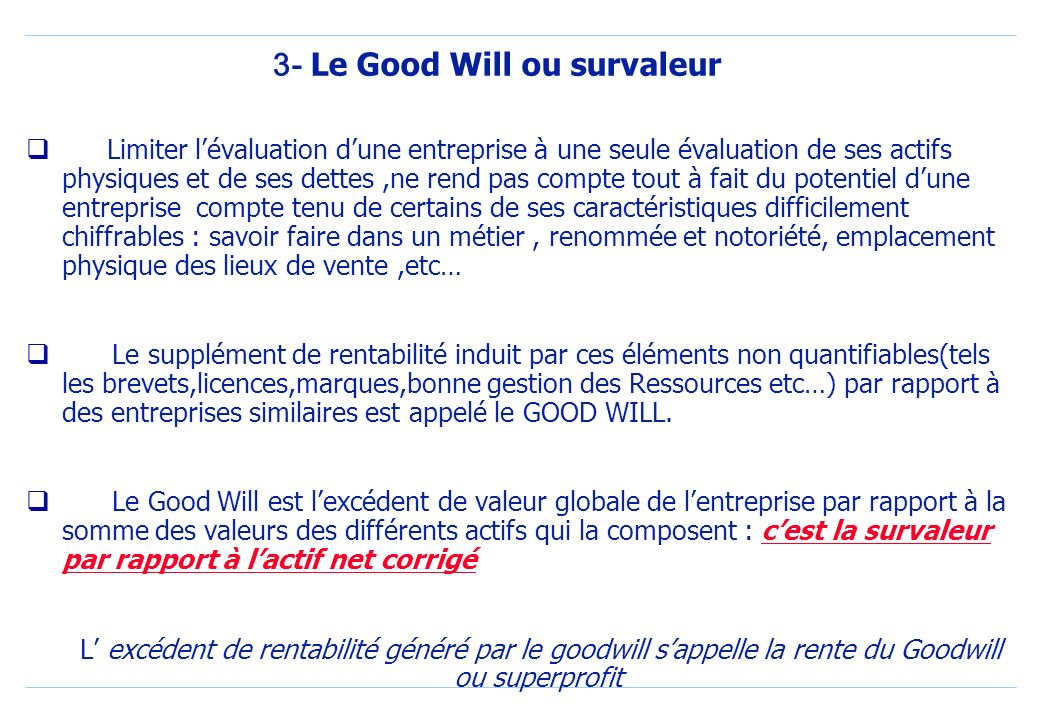 3- Le Good Will ou survaleur
