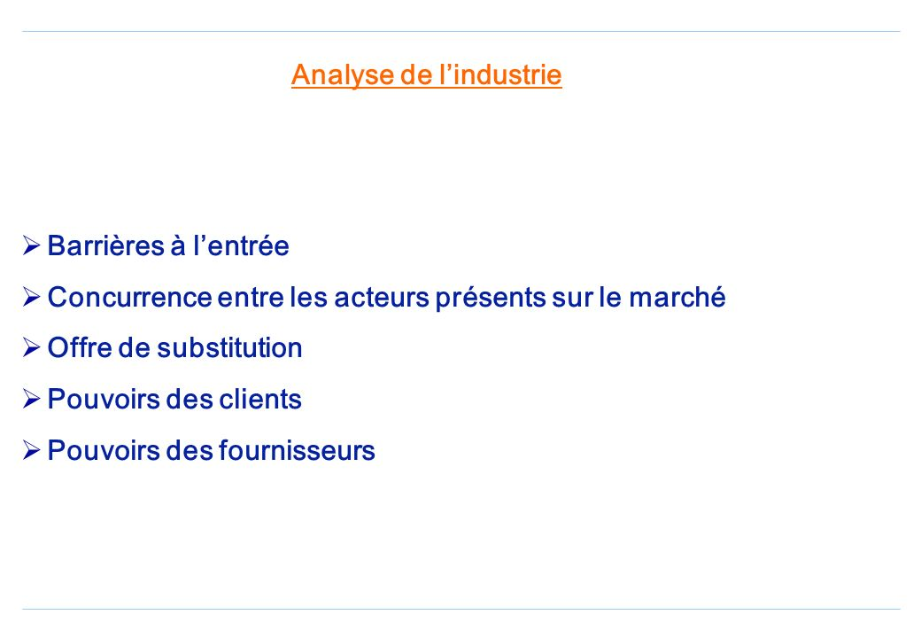 Analyse de l'industrie
