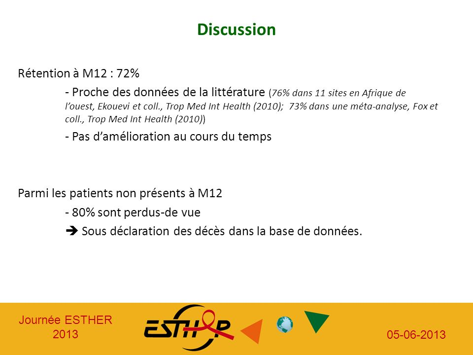Discussion Rétention à M12 : 72%