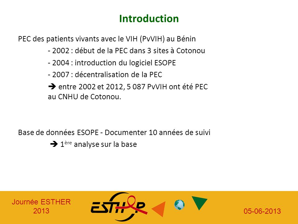 Introduction PEC des patients vivants avec le VIH (PvVIH) au Bénin