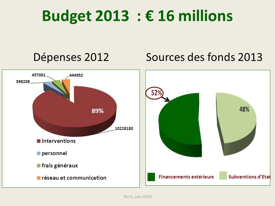 Budget 2013 : € 16 millions Dépenses 2012 Sources des fonds 2013 89%