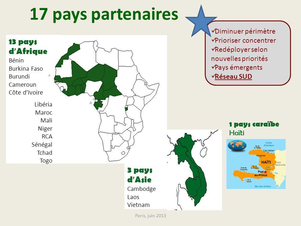 17 pays partenaires 13 pays d'Afrique 3 pays d'Asie Diminuer périmètre