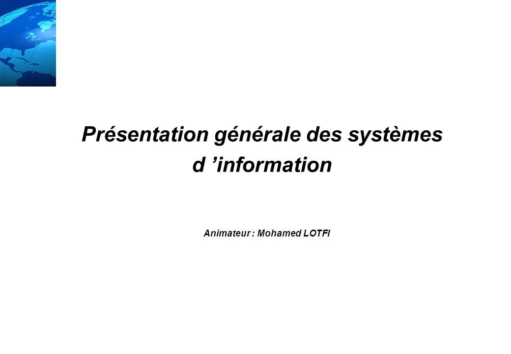 Présentation générale des systèmes Animateur : Mohamed LOTFI