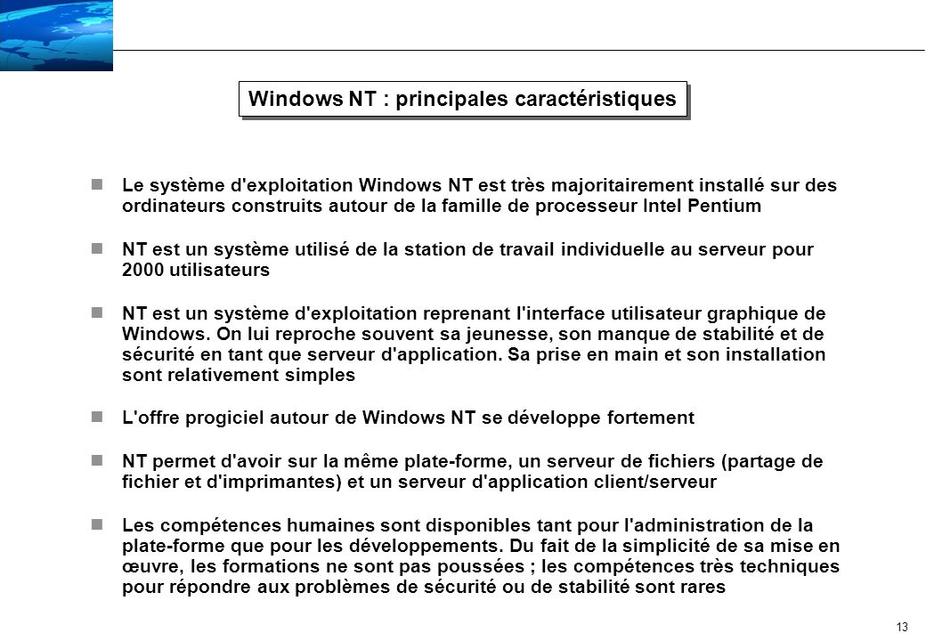 Windows NT : principales caractéristiques
