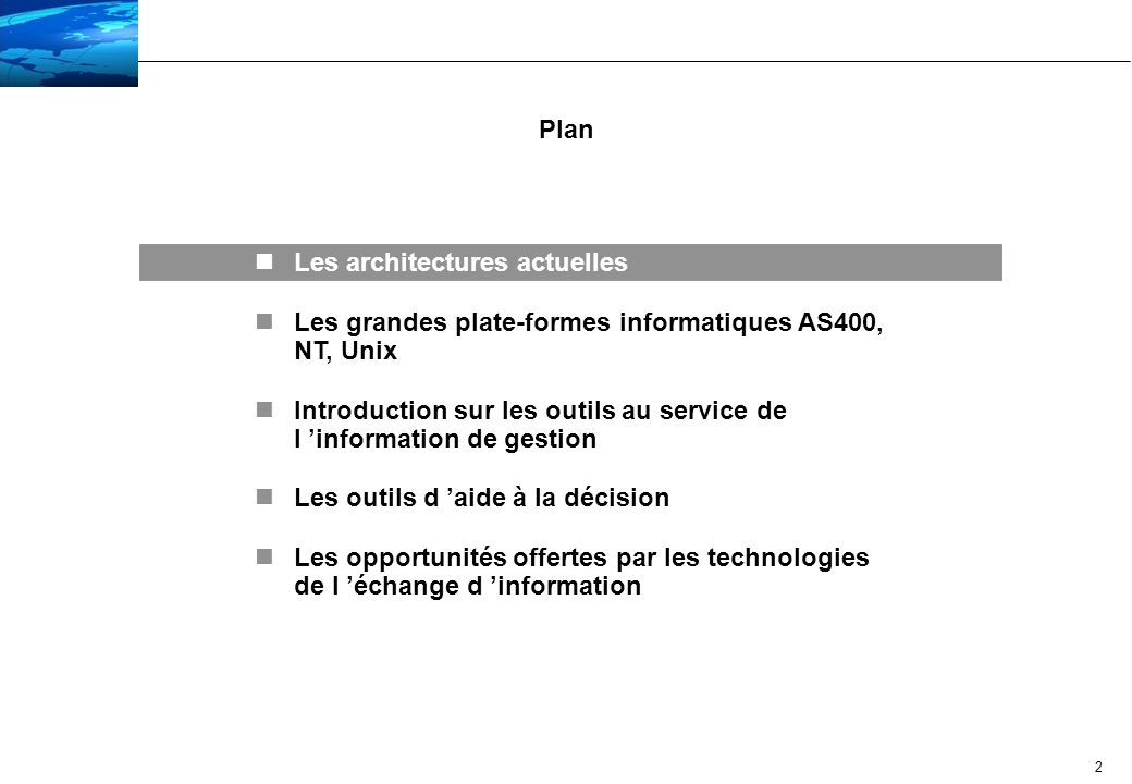 Plan Les architectures actuelles. Les grandes plate-formes informatiques AS400, NT, Unix.