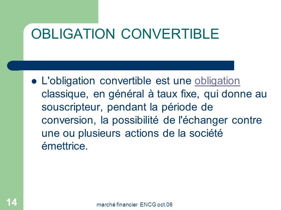 OBLIGATION CONVERTIBLE