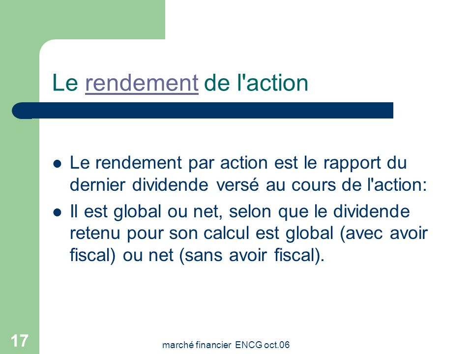 Le rendement de l action
