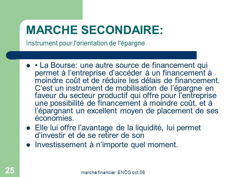 MARCHE SECONDAIRE: Instrument pour l orientation de l épargne