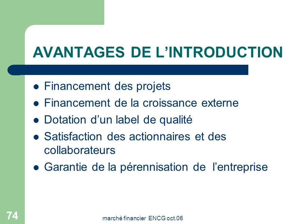 AVANTAGES DE L'INTRODUCTION