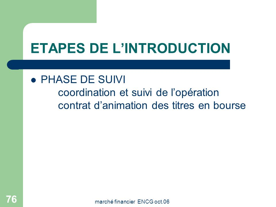 ETAPES DE L'INTRODUCTION